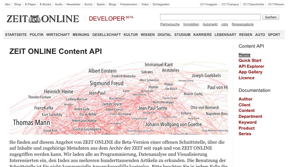 Screenshot von developer.zeit.de mit einer API-Schlagwort Visualisierung von Gregor Aisch