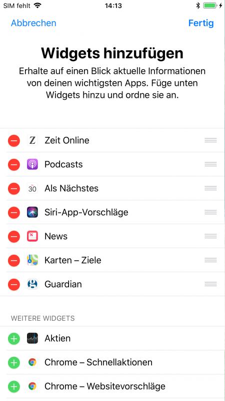 iOS Widgets verschieben