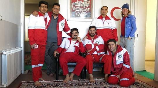 Unter Männern: Im Iran übernachtete sie beim Iranischen Roten Kreuz © Heike Pirngruber
