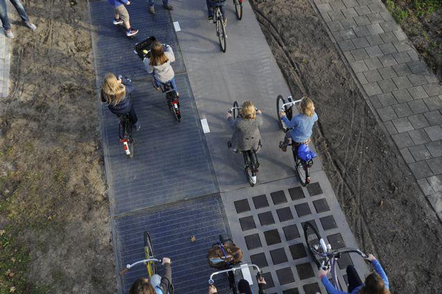 Hier sieht man die verschiedenen Fahrbahnen und Oberflächen © SolarRoad