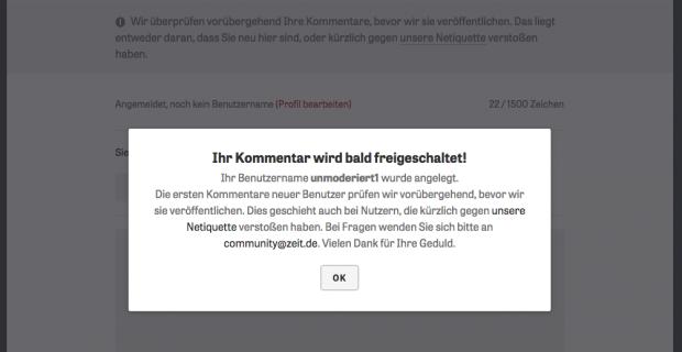 Neue Prämoderation bei ZEIT ONLINE.