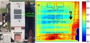 Aufnahme der Wärmebildkamera. Gut zu sehen sind die kühleren Flächen unter der Solaranlage (blau) Copyright: UC San Diego