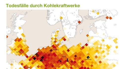 Theoretische Todesfälle durch Kohlekraftwerke, laut Greenpeace © Greenpeace 2013