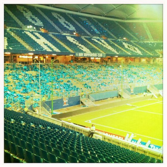 Nordkurve des HSV (Minuten nach dem Derbysieg des FC St. Pauli) - Foto: Erik Hauth
