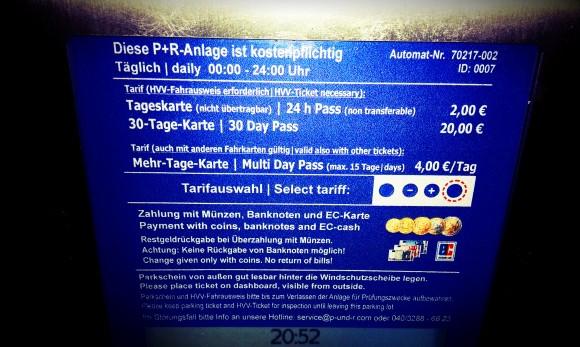 Park + Ride Gebühren Hamburg am Automaten