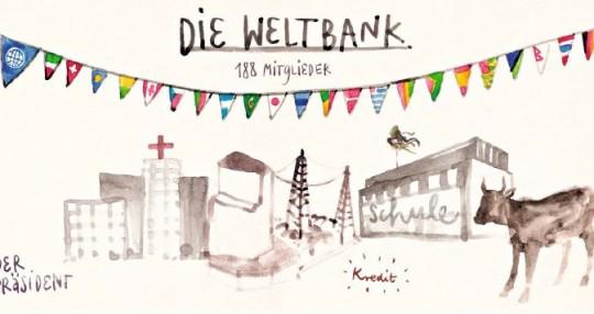 Die Weltbank ist für alle da. Auch Deutschland gehört ein Teil der Bank/ Illustration Lisa Schweizer