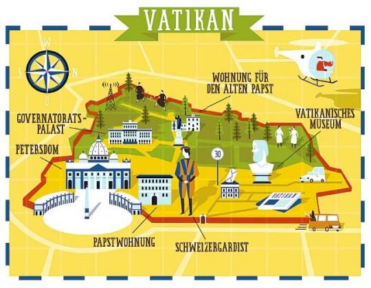 Klein, aber ein kompletter Staat: Der Vatikan/ Illustration: Anton Hallmann sepia-online.com