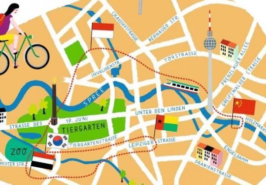 Unsere Autorin fuhr mit dem Rad durch die Botschaften die Berlins/ Illustration: Jan Kruse www.humanempire.de