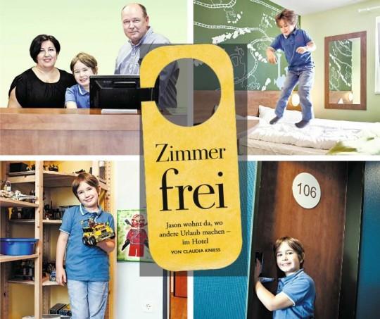 Jason mit seinen Eltern an der Rezeption und beim Toben und Spielen in seinem Zimmer/ © Michael Herdlein
