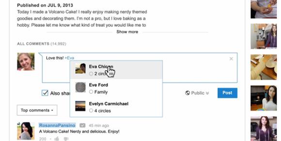 Neue Kommentarspalte mit Google+-Integration.