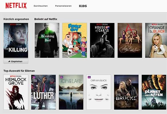 Der Startbildschirm von Netflix