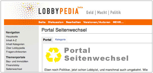 Portal Seitenwechsel Lobbypedia