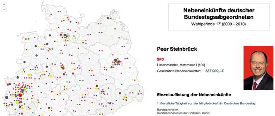 Karte Nebeneinkuenfte Bundestagsabgeordnete