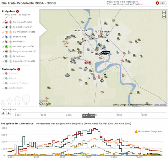 Irak Protokolle interaktive Karte Spiegel