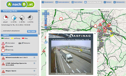 Screenshot A nach B Österreich