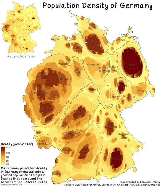 Bevölkerungsdichte Deutschland Projektion