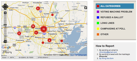 crowdmap election problems houston