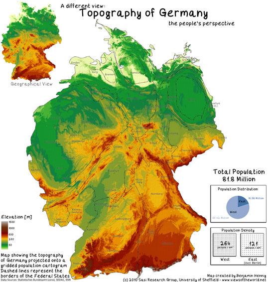 Topographie Deutschland anhand Bevölerungsverteilung