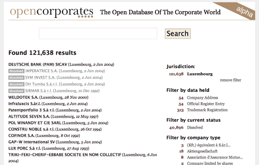 open corporates screenshot