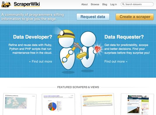 Scraper Wiki Frontpage