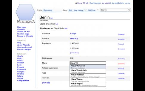 Prototyp einer Eingabemaske für Wikidata