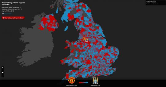 Tweets über Manchester United (rot) und Manchester City (blau)