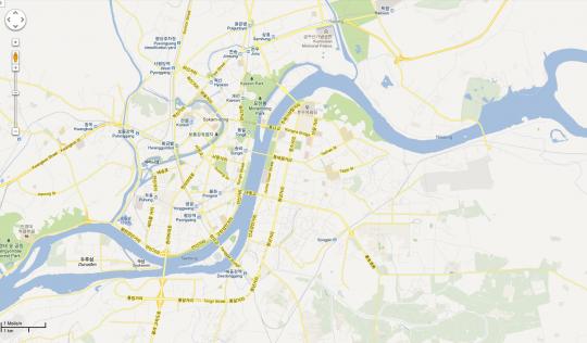 Straßenkarte von Pjöngjang bei Google Maps / Screenshot ZEIT ONLINE