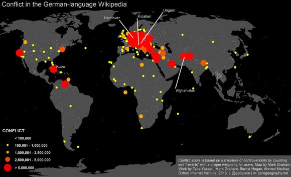 Konfliktthemen in der deutschsprachigen Wikipedia, Quelle: Mark Graham, Oxford Internet Institute