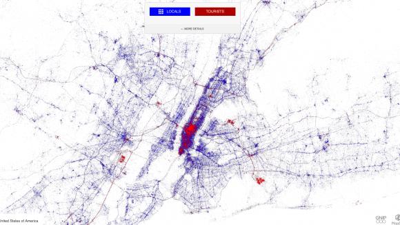 Visualisierung von Twitter-Geodaten. Wo in New York twitterten Einheimische (blau) und wo twitterten Touristen (rot). Eric Fischer/MapBox