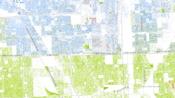 Karte der Einwohner von Detroit und ihrer ethnischen Herkunft: blaue - Weiße, grün - Schwarze. Quelle: Dustin A. Cable http://www.wired.com/design/2013/08/how-segregated-is-your-city-this-eye-opening-map-shows-you/#slideid-210361