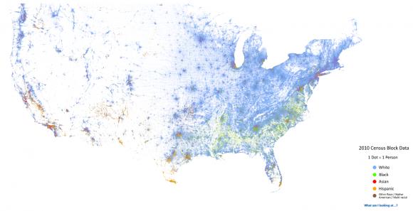 Verteilung ethnischer Gruppen in den USA: blau - Weiße, grün - Schwarze, rot - Asiaten, orange - Hispanics. Quelle: Dustin A. Cable http://demographics.coopercenter.org/DotMap/index.html
