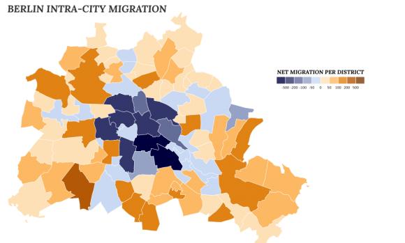 Umzugskarte von Berlin, blaue Bezirke haben eine hohe Abwandererqoute, braune viele Zuzügler, Quelle: mappable.info