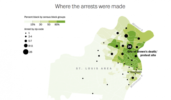 Festnahmen bei Protesten in Ferguson nach Ort der Festnahme Quelle: http://www.washingtonpost.com/wp-srv/special/national/ferguson-arrests/