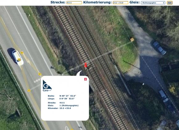 Darstellung der Geodaten einer Bahnbrücke auf der Strecke 4111 im Portal von Geo++. Quelle: http://db.geopp.de/gnrailnav_servlet/GNOpenLayersV3