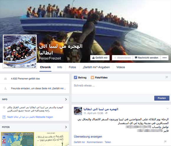 Screenshot der Facebook-Seite der Schlepper