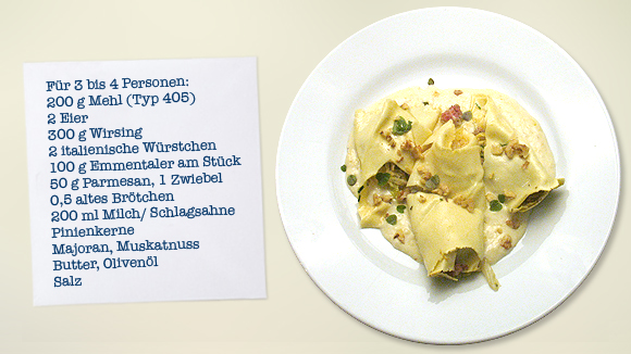 Cannelloni mit Wirsing und Salsiccia