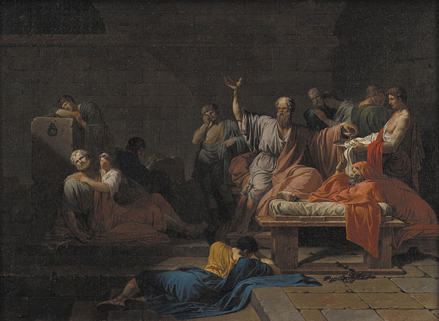Der Tod des Sokrates. Darstellung von David Jacques-Louis, 1787 © Wikimedia/Public Domain
