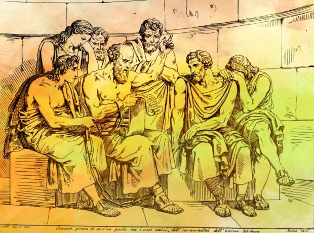 Sokrates lehrt in dieser Darstellung nach Pirelli seinen Studenten Philosophie. (© Hulton Archive/Getty Images)