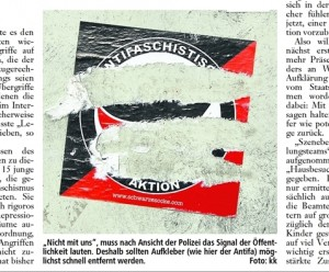 Aufforderung in der Schaumburger Zeitung Antifa-Aufkleber möglichst schnell wieder zu entfernen (Screenshot: Schaumburger-Zeitung vom 29.01.2011)