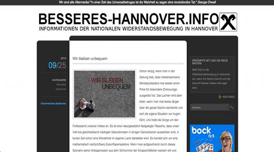 """Verboten: Die Neonazi-Gruppierung """"Besseres Hannover"""" (hier der Webauftritt) © Screenshot"""