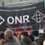 Ein Transparent des Nationalradikalen Lagers (ONR) mit Keltenkreuz und Parteisymbol