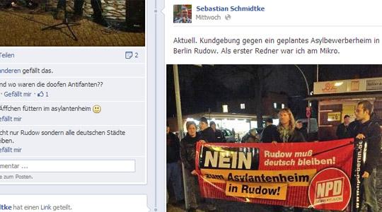 Auf Facebook veröffentlichte NPD-Chef Schmidtke Fotos vom Mittwoch  © Screenshot Facebook