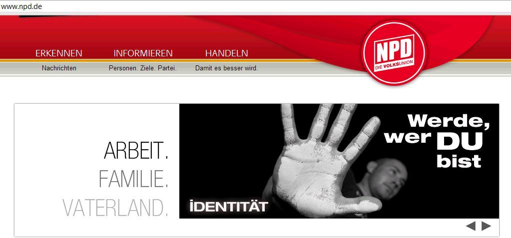 """JN-Kampagne """"Identität - Werde, wer DU bist"""" © Screenshot von der NPD-Homepage"""