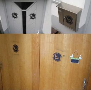 Besprühte Wohnungstüren linker Familien in Fürth © privat