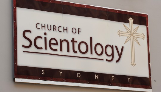 Signage at a Church of Scientology build