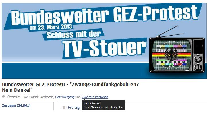 Screenshot des Demoaufrufs auf Facebook
