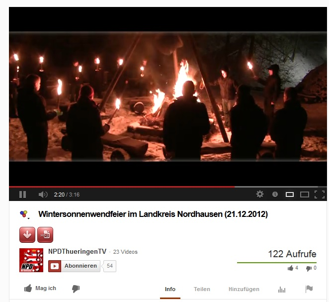 NPD-Thüringen Youtube-Kanal mit Video der Aktionsgruppe Nordhausen Screenshot