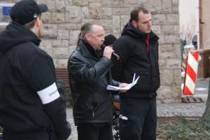 Roy Elbert  (links) und Alexander Lindemann (rechts) als Redner in Nordhausen © Kai Budler