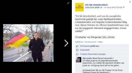 Inzwischen gelöscht: Statement von Christopher von Mengersen © Screenshot Facebook
