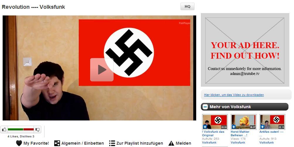 """Screenshot des """"Trutube""""-Profils von """"Volksfunk"""""""